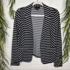 Fenn Wright Manson Striped Grey Knit Open Blazer M